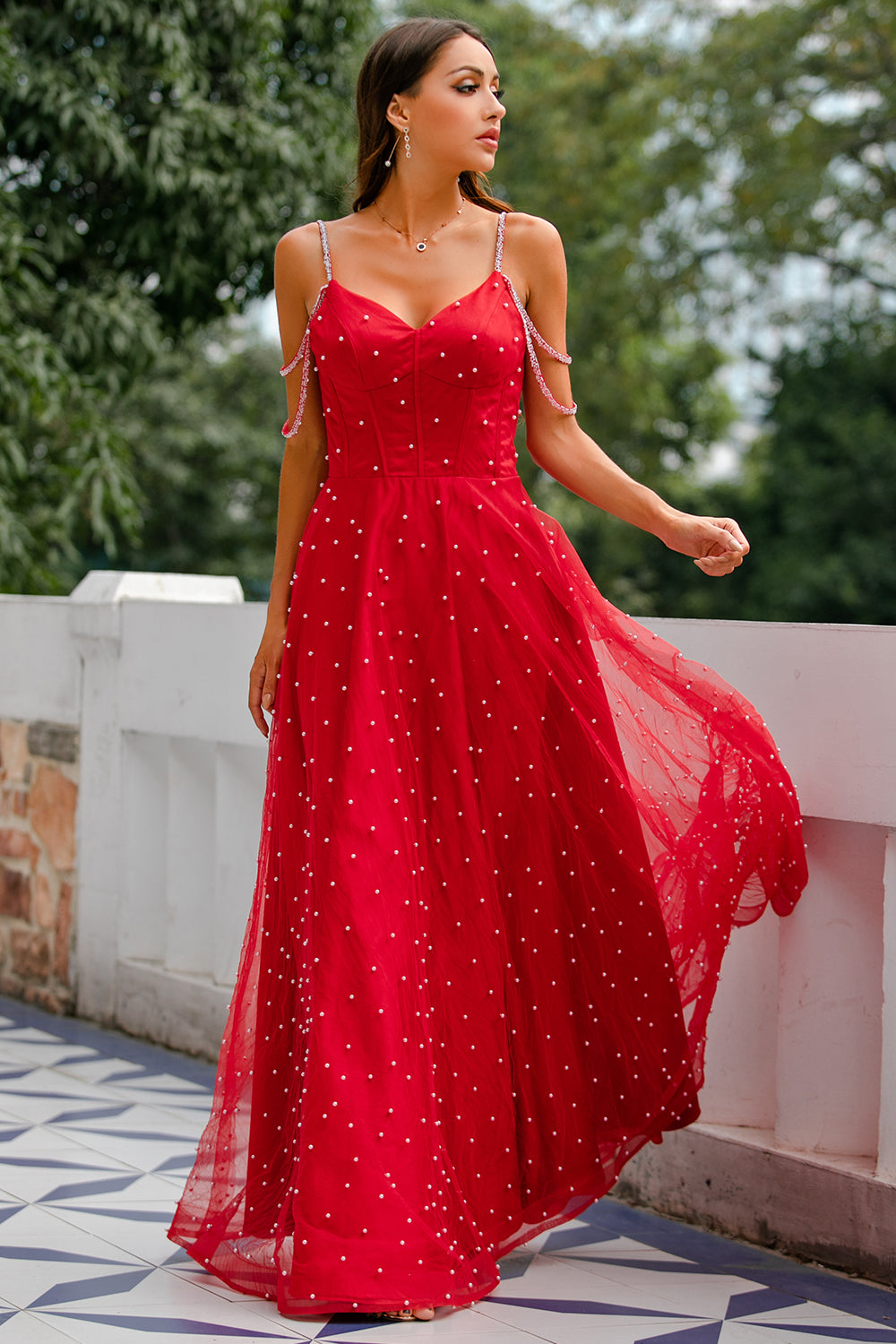 Red Beaded Long Prom Dress