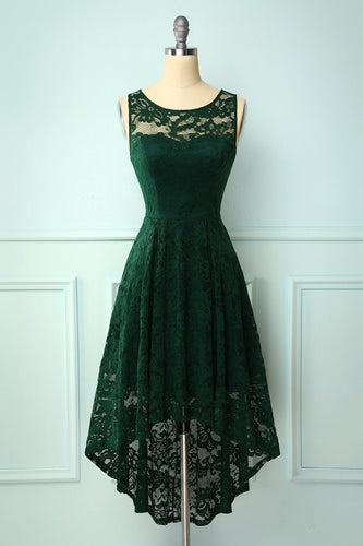 Dark Green High Low Lace Party Dress