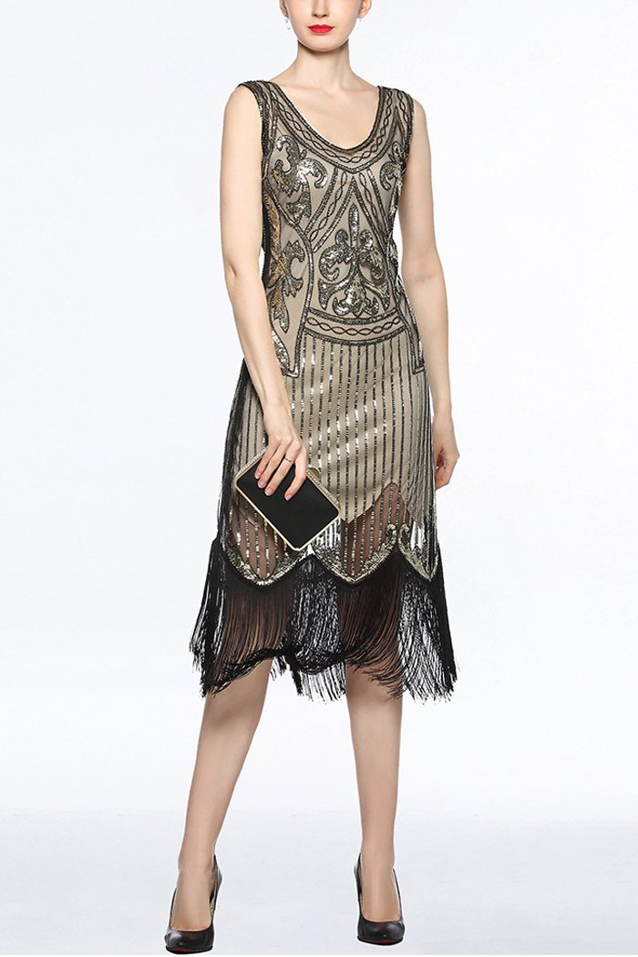 Women V Neck 1920s Fringe Sequin Flapper Dress