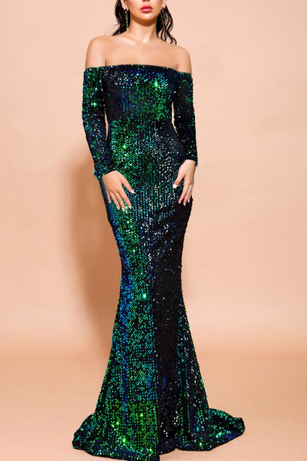 Load image into Gallery viewer, Green Mermaid Sequin Long Prom Dress with Sleeves