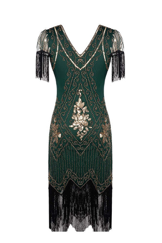 Green V Neck Backless Sequin Fringe Flapper Dress