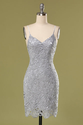 Grey Lace Bodycon Cockatail Dress