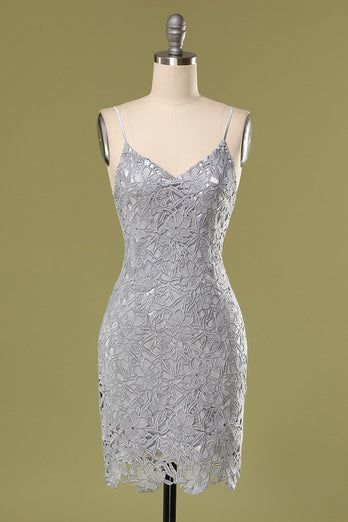 Grey Lace Bodycon Cocktail Dress