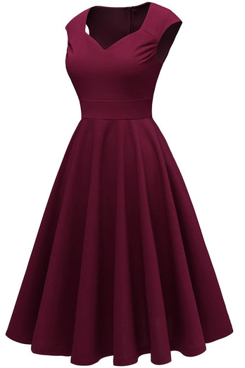 Burgundy Solid Hoco Dress