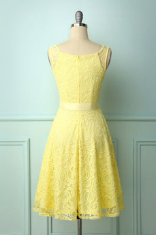 Yellow Lace V-neck Dress