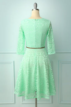 Mint Lace Dress with 3/4 Sleeves