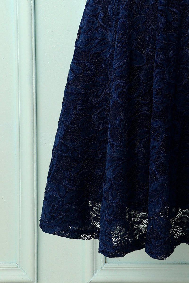 Load image into Gallery viewer, Navy Bridesmaid Lace Dress