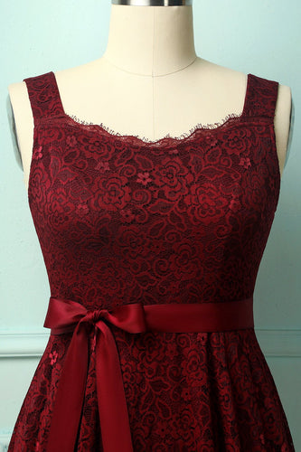 Burgundy Sleeveless Lace