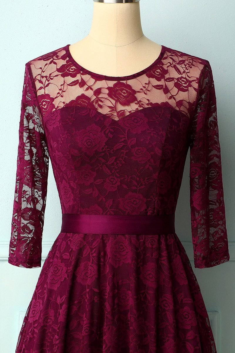 Load image into Gallery viewer, Grape Rose Lace Dress