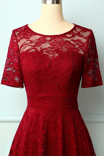 Dark Red Bridesmaid Lace