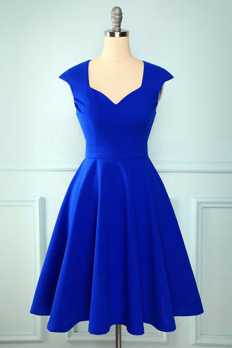 Royal Blue Solid Dress