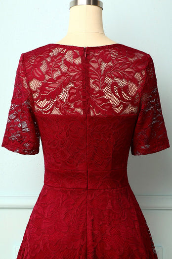 Dark Red Bridesmaid Lace Dress