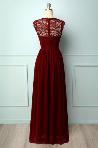 Formal Dark Red Lace Dress