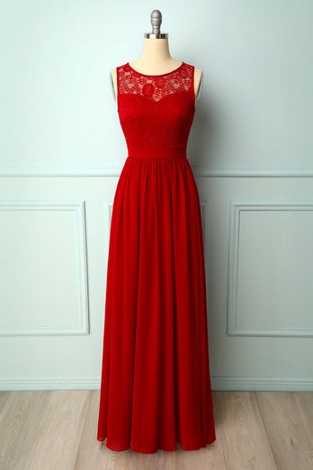 Red Lace Long Dress