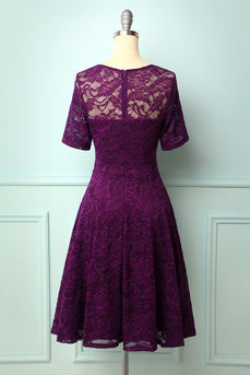 Grape Bridesmaid Lace Dress