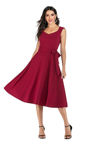 Burgundy Solid Dress