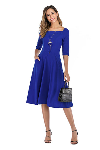 Royal Blue Dress with Pockets