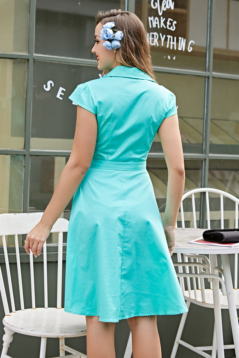 Load image into Gallery viewer, Blue 1950s Swing Dress
