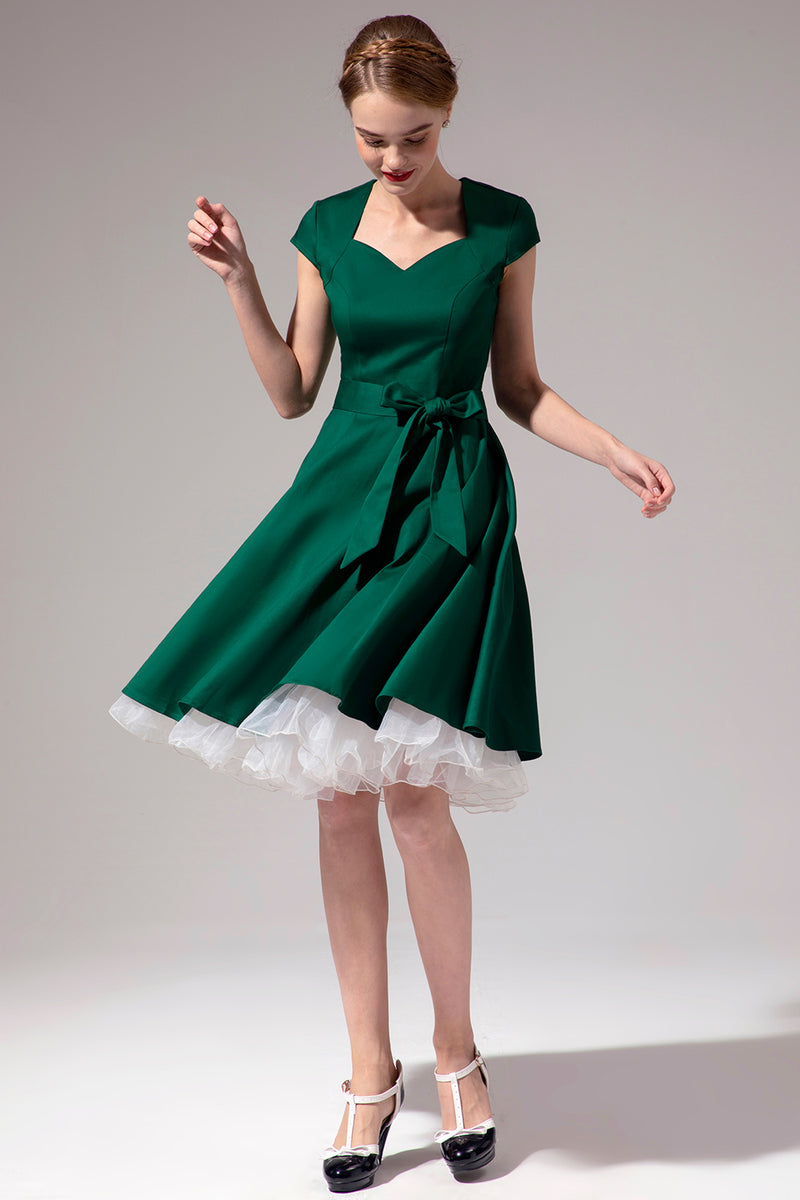 Load image into Gallery viewer, Green Scoop Swing Dress