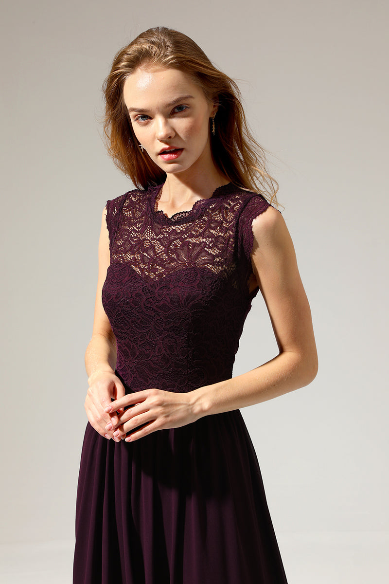 Load image into Gallery viewer, Formal Dark Red Lace Dress
