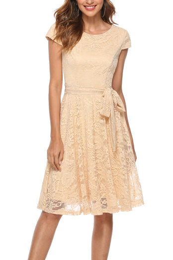 Cap Sleeves Lace Dress