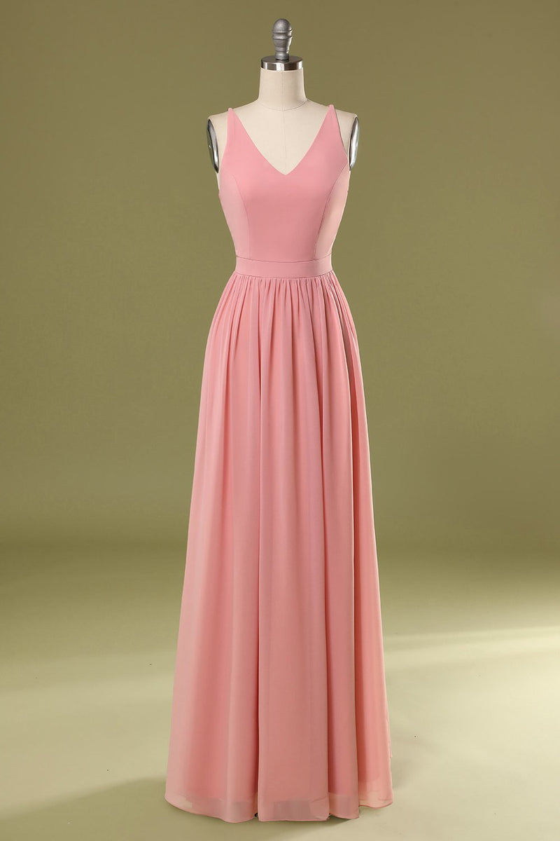 Load image into Gallery viewer, Simple Pink Long Bridesmaid Dress
