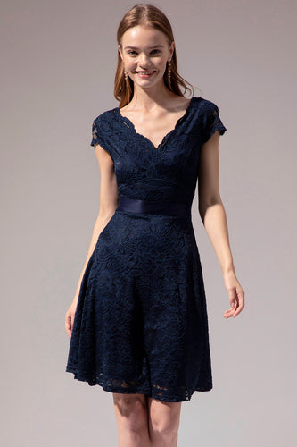 Navy Lace V-neck Dress