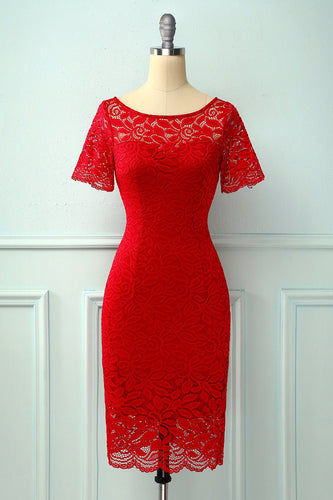 Red Bodycon Lace Dress