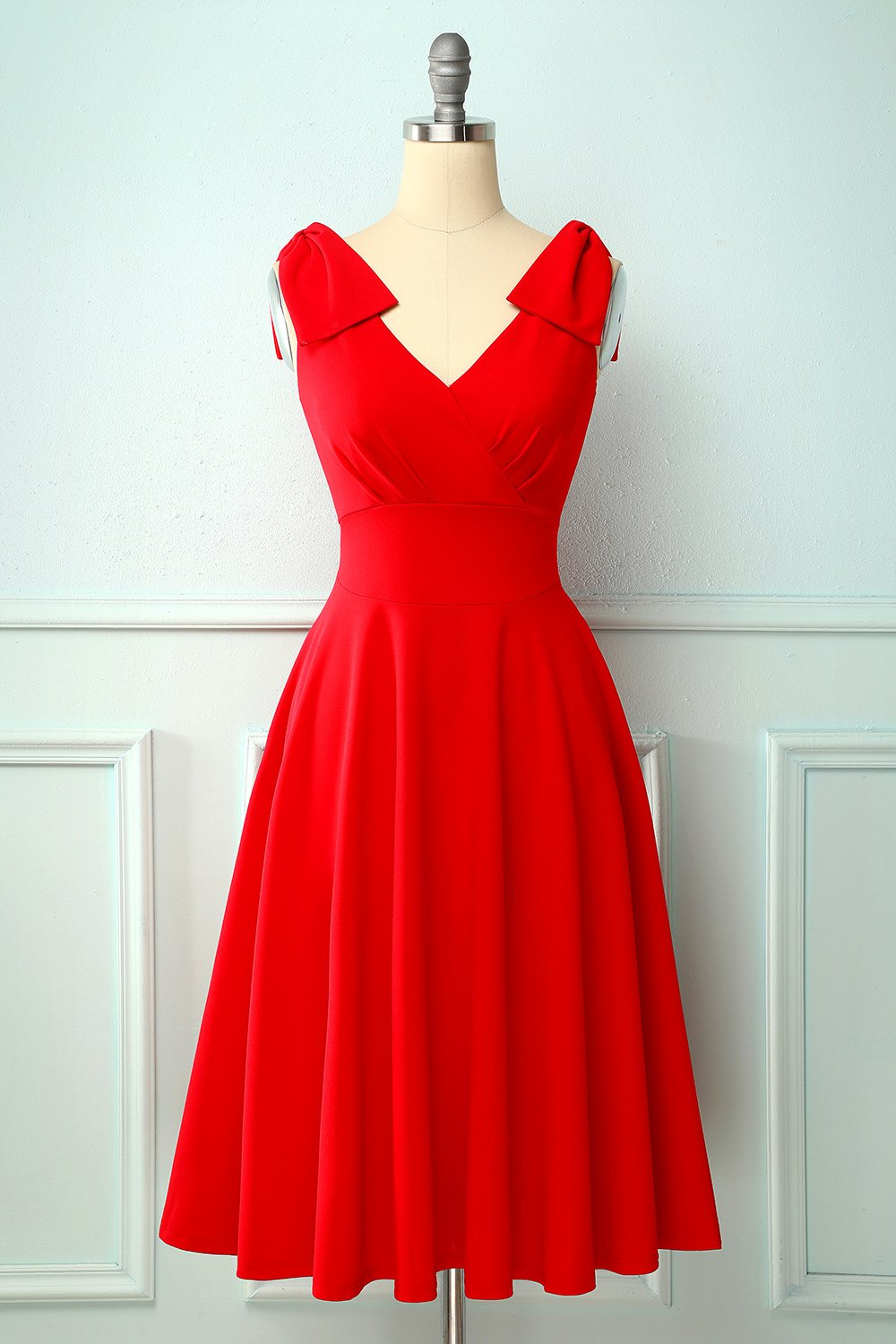 Vintage Red Dress With A Red Bow Pockets