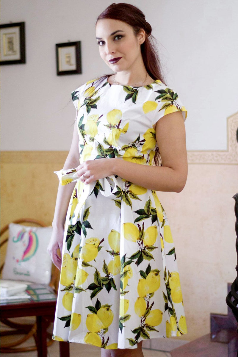Load image into Gallery viewer, Lemon Floral Printed Dress