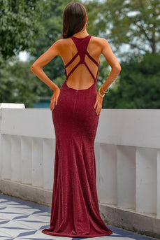 Burgundy Glitter Keyhole Mermaid Prom Dress