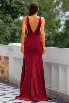 Burgundy Velvet Prom Long Dress