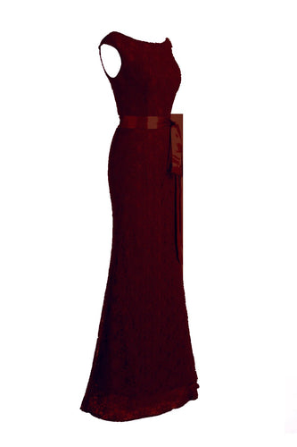 Burgundy Mermaid Prom Lace Dress