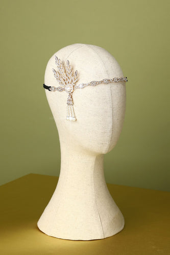White Beaded 1920s Flapper Headband