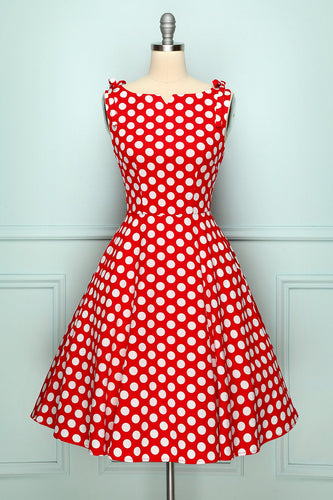 Polka Dots Shoulder Bow Dress