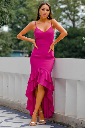 Fuchsia Backless High-Low Chiffon Formal Prom Party Dress With Ruffle