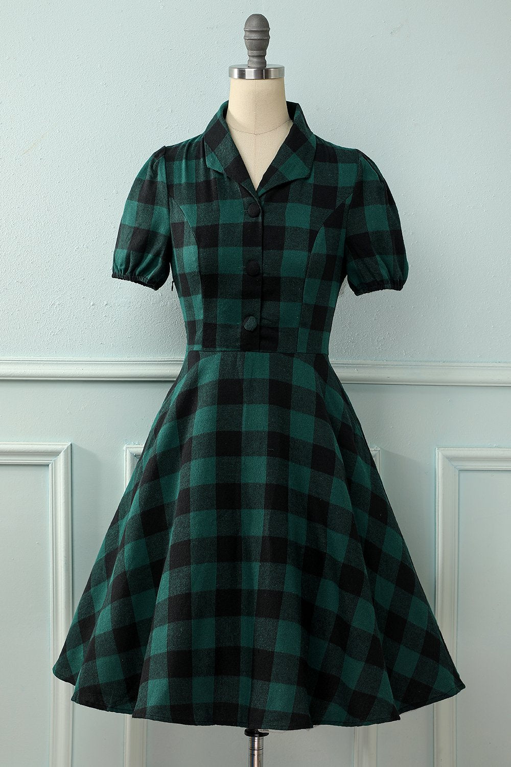 Green V-neck Button Retro Dress