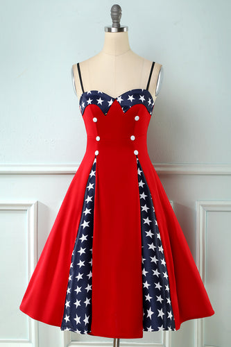Red Patchwork Star Printed Vintage 1950s Dress