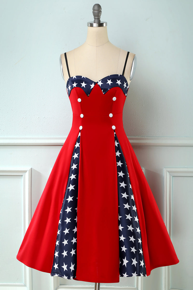 Load image into Gallery viewer, Red Patchwork Star Printed Vintage 1950s Dress