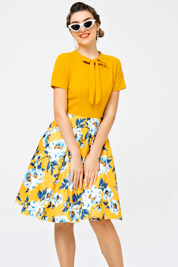 Orange Floral Print Casual Day Dress