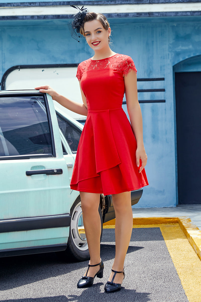 Load image into Gallery viewer, Lace Red Crepe Dress