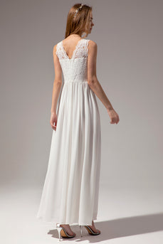 White A-line Sweetheart Long Formal Prom Party Dress With Lace