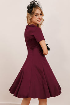 Burgundy Vintage Fall Dress with Sleeves