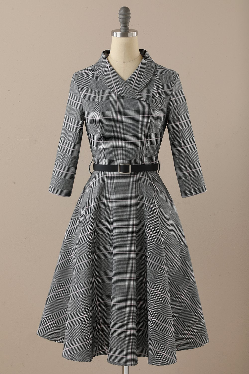 Retro Style Dark Grey Vintage Dress with Long Sleeves