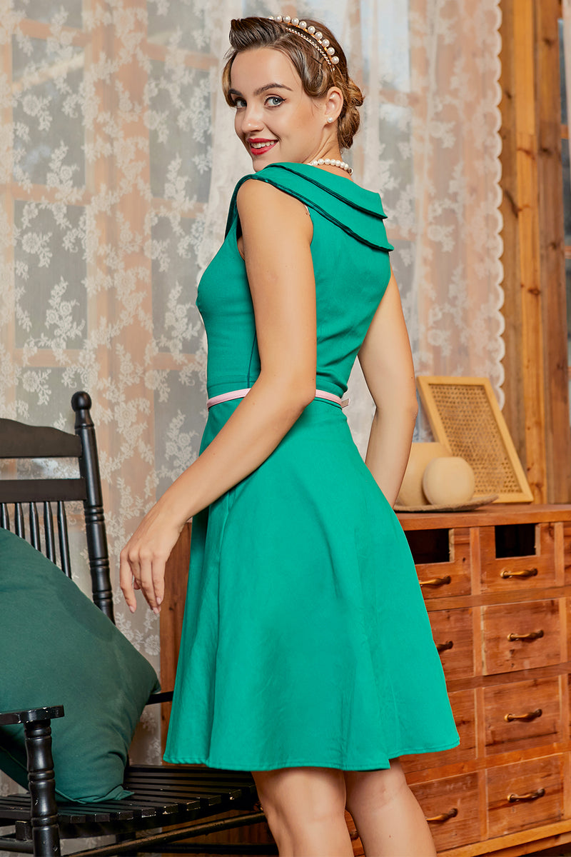 Load image into Gallery viewer, Green V Neck 50s Dress
