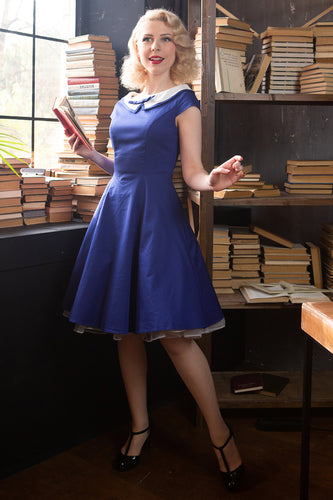 Peter Pan Collar Royal Blue Dress