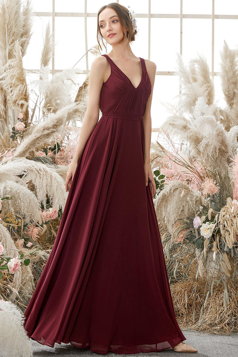 Load image into Gallery viewer, Burgundy V Neck Chiffon Bridesmaid Dress