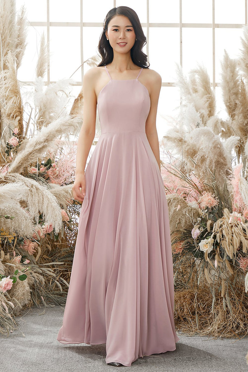 Load image into Gallery viewer, Dusty Pink Chiffon Bridesmaid Dress