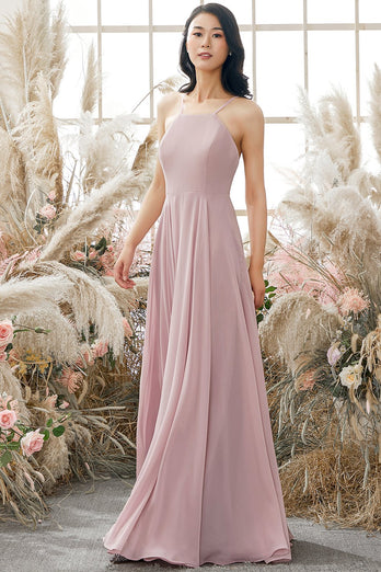 Dusty Pink Chiffon Bridesmaid Dress