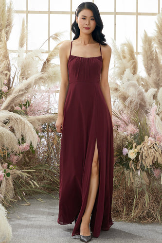Burgundy Backless Chiffon Bridesmaid Dress